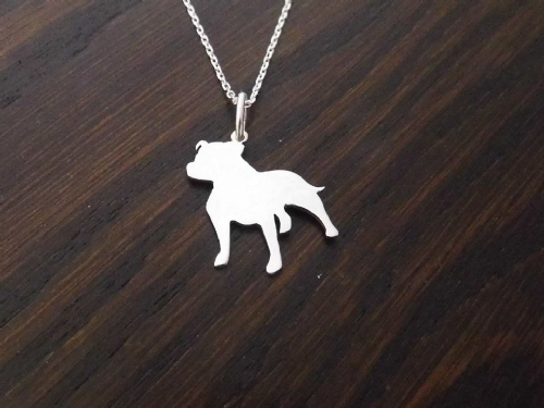 staffordshire bull terrier staffy dog silhouette pendant sterling silver handmade by saw piercing